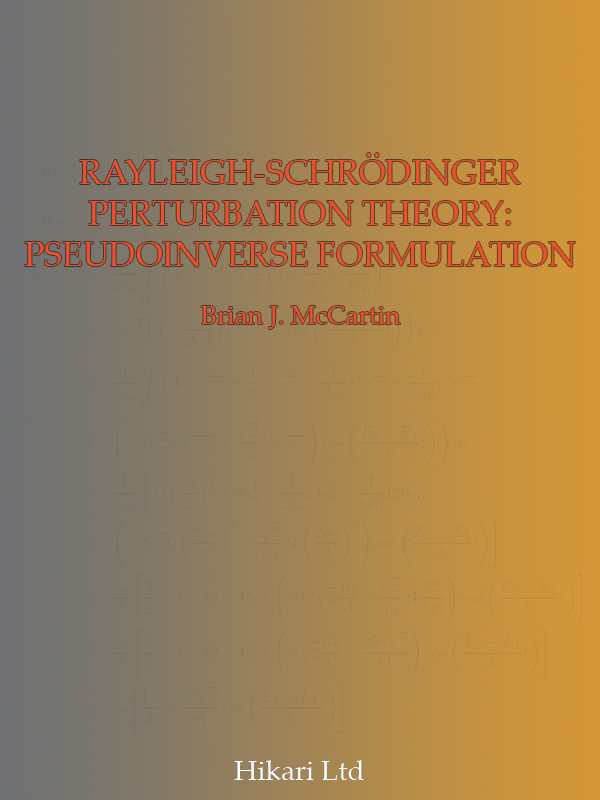 RAYLEIGH-SCHRODINGER PERTURBATION THEORY: PSEUDOINVERSE FORMULATION